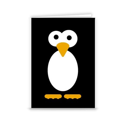 Kevin the Penguin Greeting Card by minnimals at zippi.co.uk