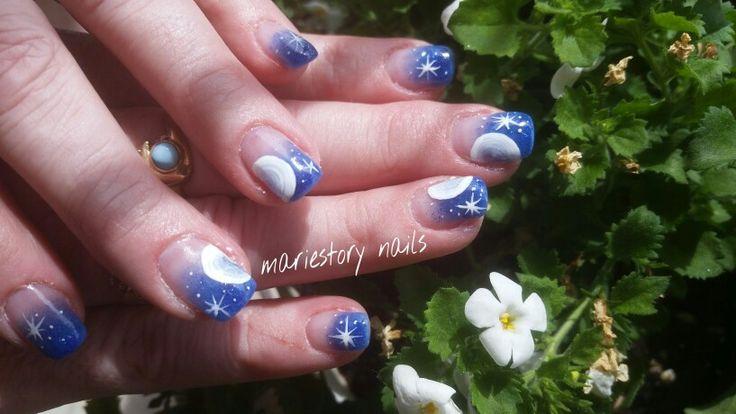 Blue nails by @ mariestory nails