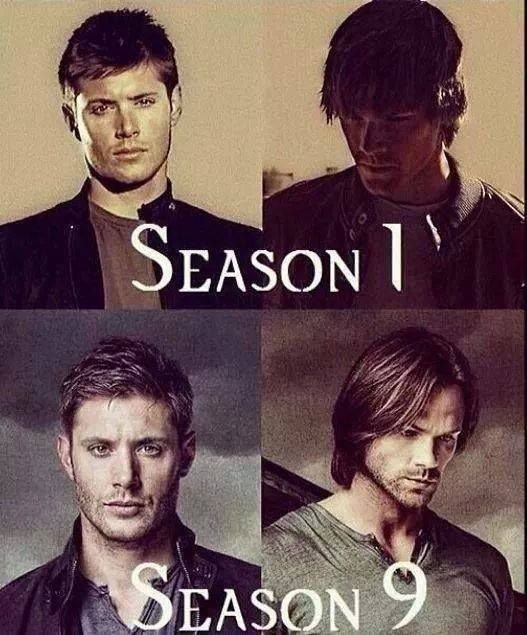 Supernatural Season 1- Season 9 Alright normally you can't see how much Dean has changed, but holy crap look at all the pain in those eyes!!