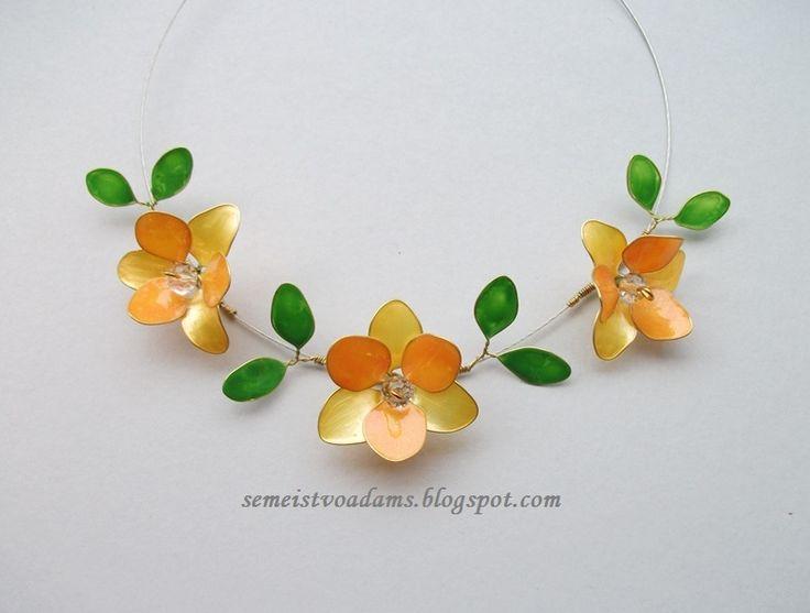 Necklace Wire flowers with nail polish / Цветы из проволока и лака для ногтей by semeistvoadams.blogspot.com