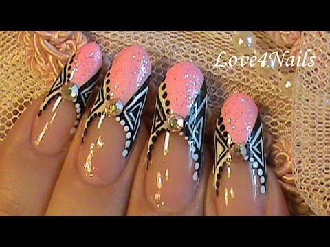 Nail Art Design Tutorial Soft Pink French Manicure - YouTube