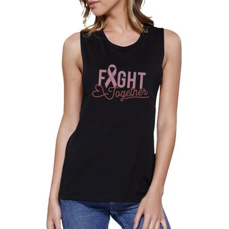 e4f9ea31dcce9 Fight Together Muscle Tee For Breast Cancer Support Black Tank Top   womenmuscle