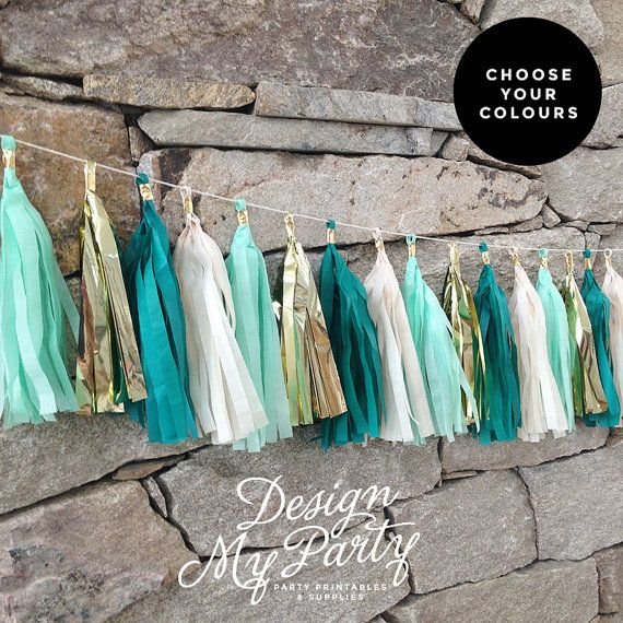 Mermaid Glam Garland  Teal Mint And Gold by DesignMyPartyShop