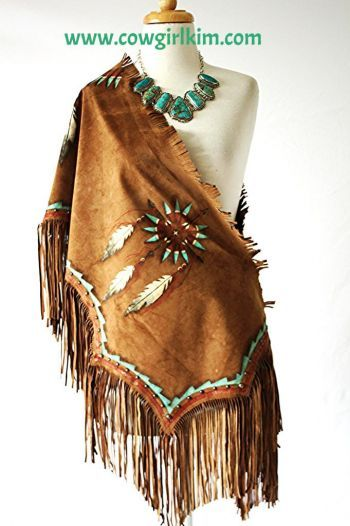 """Brands :: Patricia Wolf :: PATRICIA WOLF """"INDIAN NATION"""" SUEDE HAND PAINTED SHAWL! - Native American Jewelry