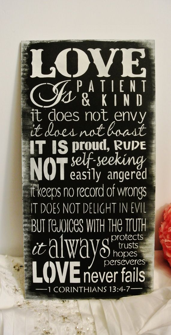 Wedding Gift, Love is patient love is kind corinthians bible verse, wood sign, wedding sign, gift, christian chalkboard