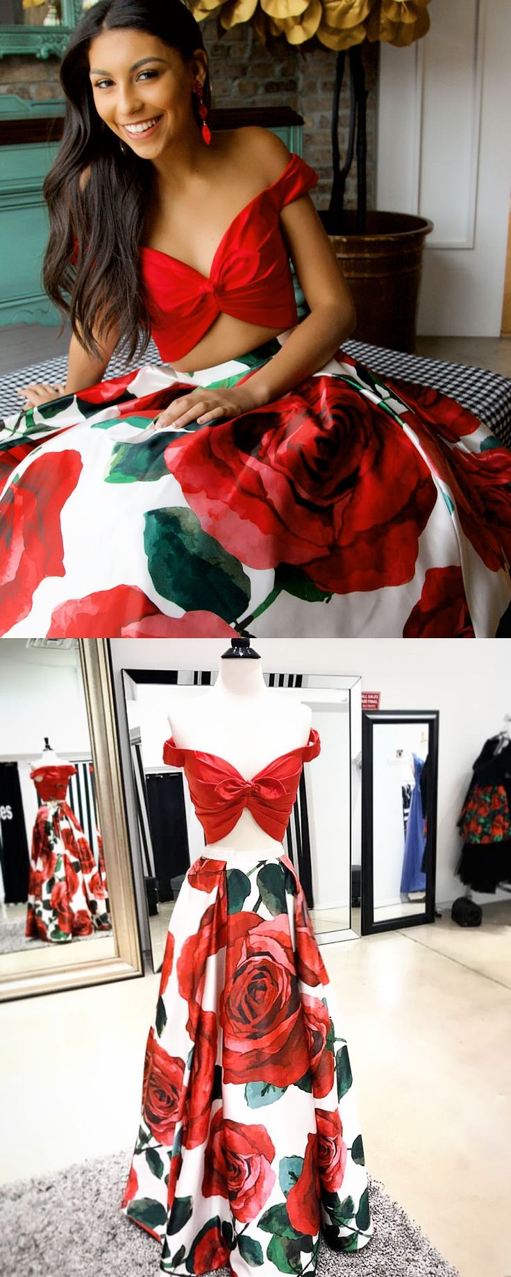 Two Piece Red Floral Long Prom Dress Graduation Dress
