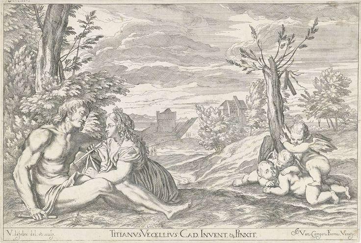 Valentin Lefebvre | Liefdespaar in een landschap, Valentin Lefebvre, Jacobus van Campen, 1682 | Een liefdespaar in een landschap, beiden hebben een fluit in hun handen. Rechts spelen drie putti bij een boomstronk. De prent maakt deel uit van een 53-delige serie prenten naar schilderijen van Titiaan en Veronese.