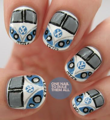 Volkswagen Nail Art. I'm crying out for a friend to do these to my nails, maybe matching my dress for prom or something @Brianna Smith PLEASE