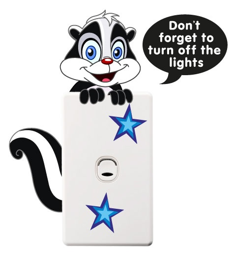 smartwalling, MOVABLE wall decals - Skunk Light Switch Sticker, $3.99 (http://www.wholesaleprinters.com.au/skunk-light-switch-sticker)