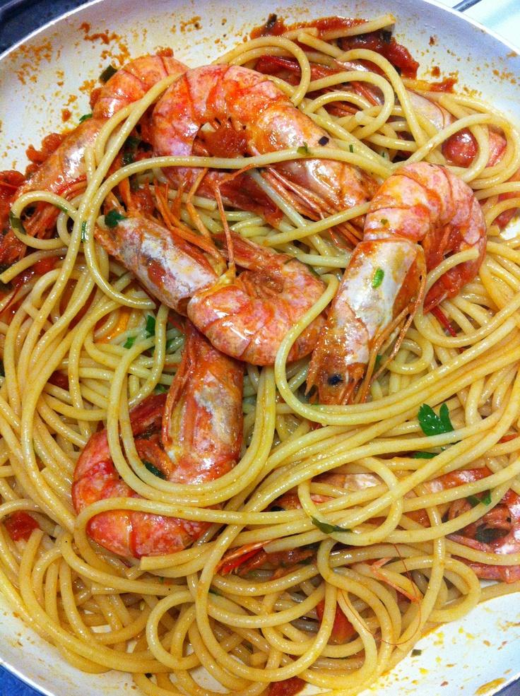 Spaghettoni con gamberoni