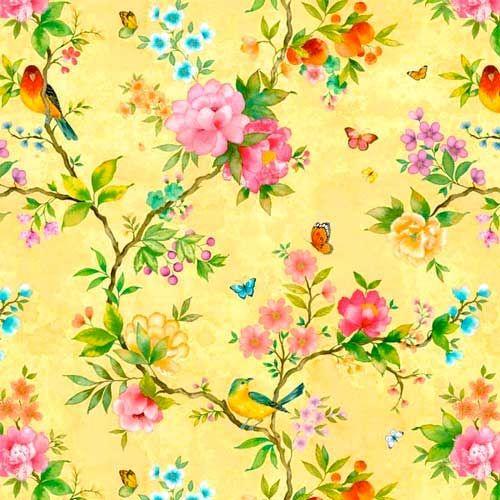 Behang met bloemen en vogels zijn mijn favoriet,