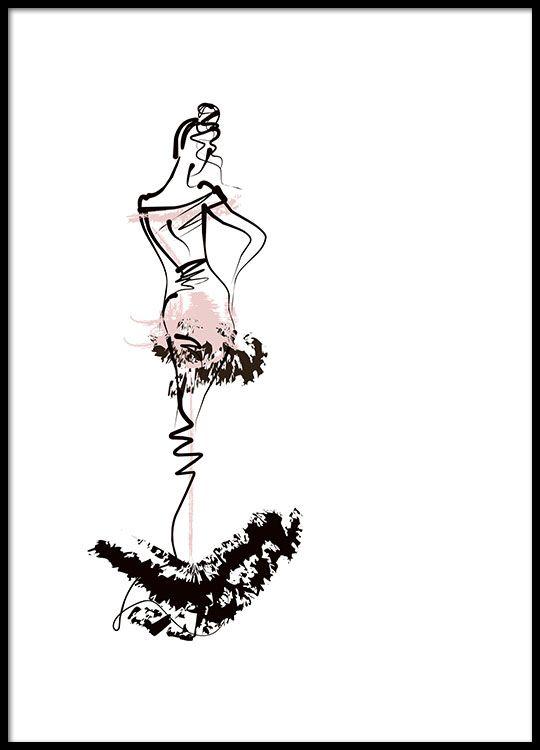 Print met illustratie van vrouw in zwart en roze (30x40) €14