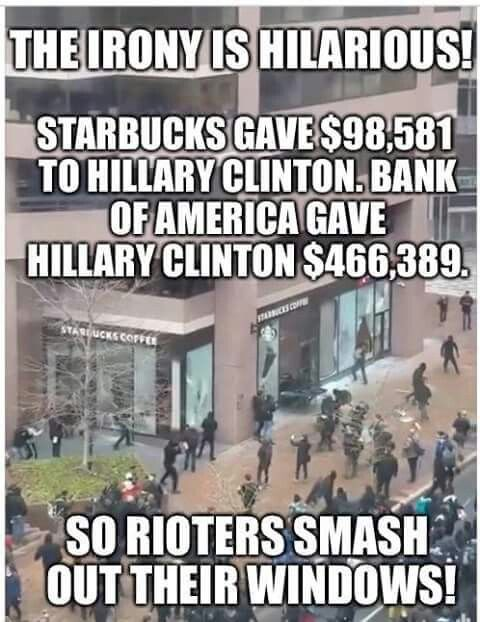 The irony of the low information voters, and their violent temper tantrums. Karma's a bitch Starbucks. Bwahahahaha.. http://fortune.com/2016/09/07/starbucks-ceo-endorses-clinton/