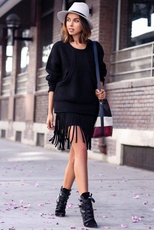 черная юбка с бахромой, стиль 70-х, стильный образ на каждый день, модные вещи весна лето, модные тренды 2015 года, уличная мода весна лето, street style, MsKnitwear, Knitwear (фото 6)