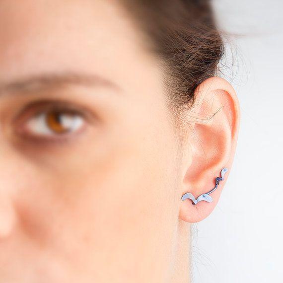 Seagull earrings, animal silhouette, earring studs, titanium earrings, women jewelry, statement jewelry, blue earrings beach, bird jewelry, ear pins, largentolab on Etsy