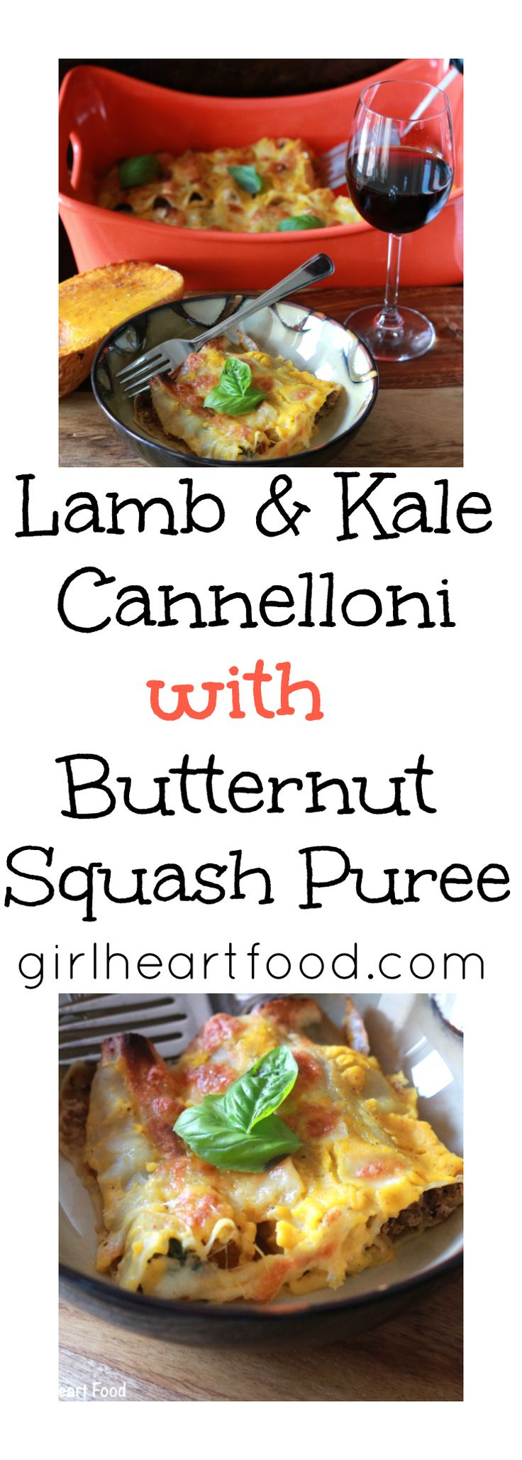 Lamb & Kale Cannelloni with Butternut Squash Puree - girlheartfood.com