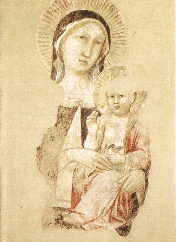 Agnolo Gaddi ~ Madonna with Child (fragment), c. late 1300s (fresco)