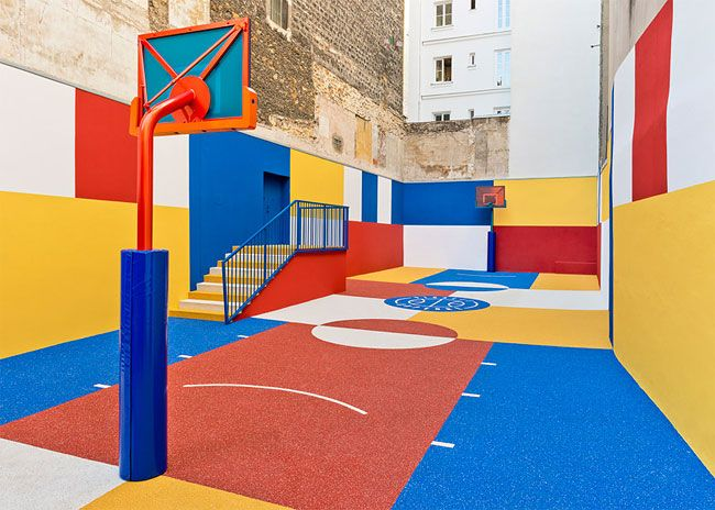 A Basketball Court Was Styled as a Malevich Painting in Paris