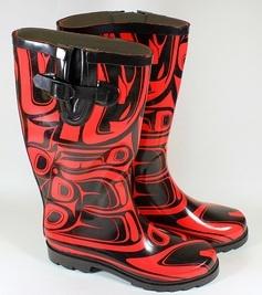 West coast native styled rain boots.