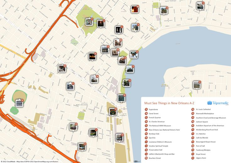 Free Printable Map of New Orleans attractions from Tripomatic – Baton Rouge Tourist Attractions Map