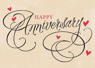 Hearts and Script Anniversary Happy Anniversary Card