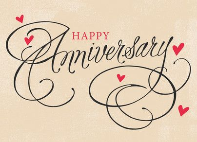 Hearts and Script Anniversary Happy Anniversary Card