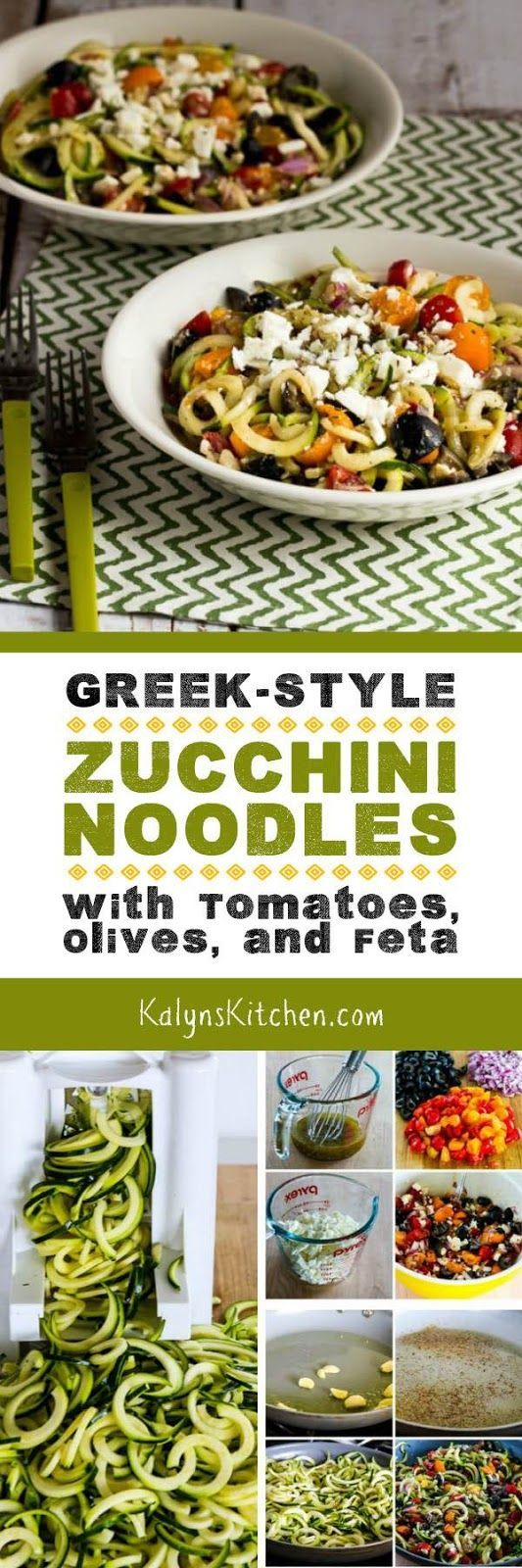 I think these Greek-Style Zucchini Noodles with Tomatoes, Olives, and Feta are a perfect summer meal! And this tasty dish with Greek-Salad flavors is low-carb, gluten-free, meatless, and South Beach Diet friendly! [found on KalynsKitchen.com]