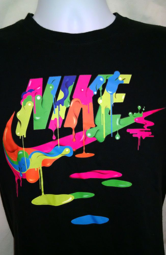 Nike rainbow swoosh logo paint black short sleeve graphic for Nike swoosh logo t shirt