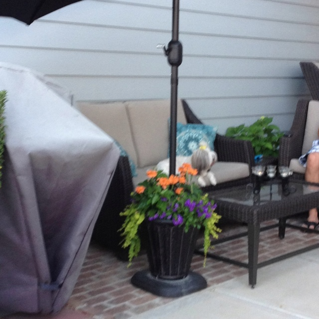 diy umbrella stand the base is an umbrella stand drill. Black Bedroom Furniture Sets. Home Design Ideas