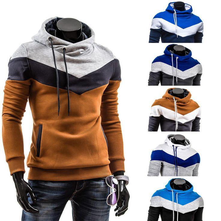 Men's Winter Slim Hoodie Warm Hooded Sweatshirt Coat Jacket Outwear Sweater  Tops in Clothing, Shoes