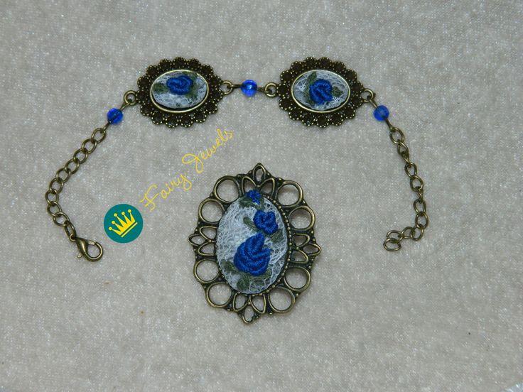 Handmade brooch and bracelet.