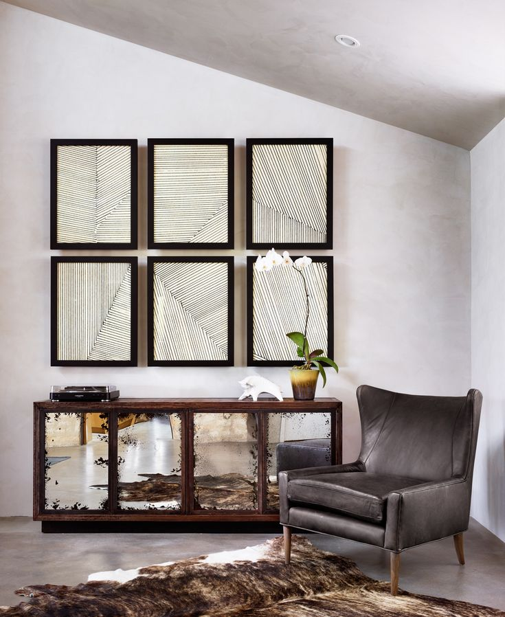 Vaughn Oak Wood Media Cabinet with Mirrored