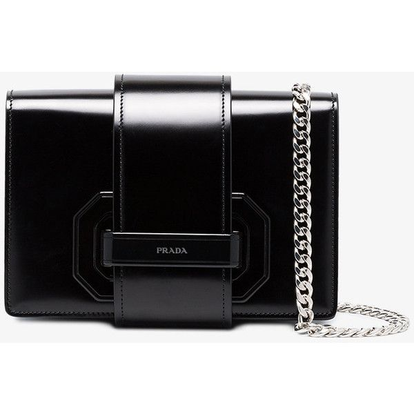 4f3f54eb9000bd Prada Black Plex Ribbon Leather Shoulder Bag ($2,510) ❤ liked on Polyvore  featuring bags, handbags, shoulder bags, black, chain strap pu… | Bling  bling