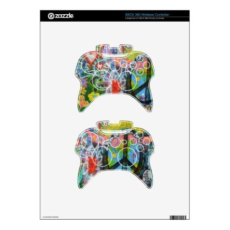 Live Upside Down Peace Sign Wall Xbox 360 Controller Skins
