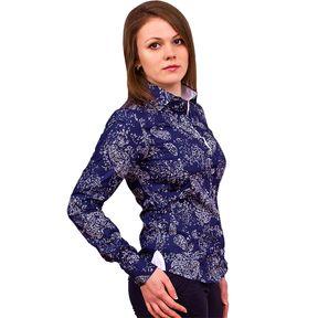 Темно синяя женская рубашка в восточных огурцах купить недорого в Москве