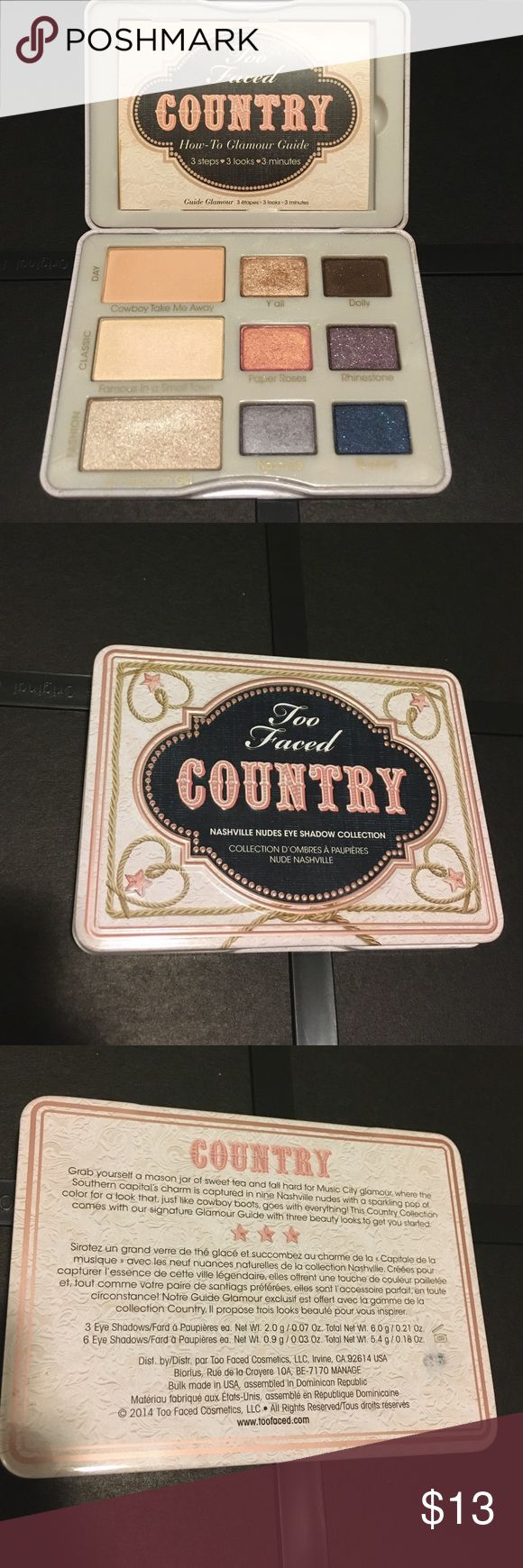 Too Faced Country pallet. Barely used! The Two Faced country pallet has three looks: day, night/fashion, and classic. The guide that comes with it shows you how to wear the shadows for each look.  Only a few of the shadows are used and have only been used a maximum of two times with a clean finger. No gross old applicators have touched the shadows! Too Faced Makeup Eyeshadow