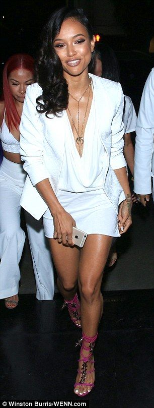 Looking all white on the night! Karrueche Tran (left) was joined by Christina Milian as the celebrations kicked off ahead of her 27th birthday in West Hollywood on Wednesday