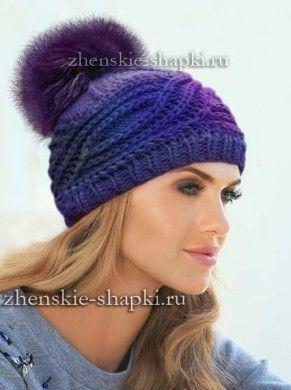 Вязание шапки с поперечной косой