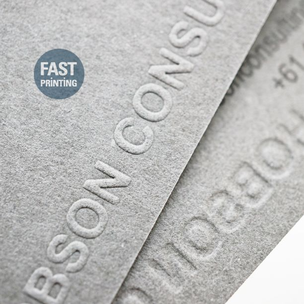 Embossed finish on Uncoated, Extra Grey Stock.