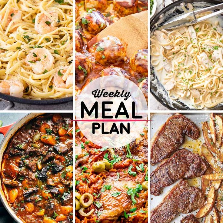 Weekly Meal Plan #56! A meal plan to help you keep things tasty each week, including shrimp scampi with linguine, skillet enchilada meatballs, chicken alfredo pasta, and more! | HomemadeHooplah.com