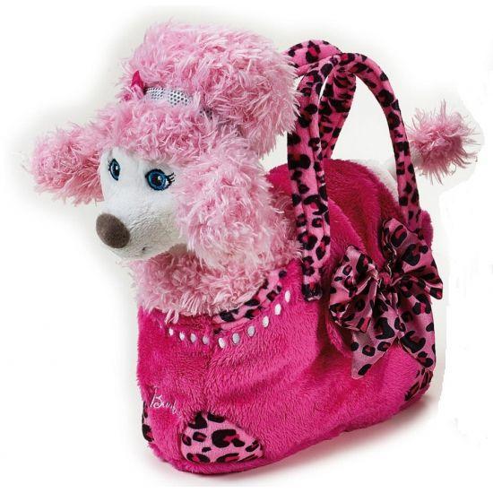 Barbie tas roze poedel 20 cm. Modieuze Barbie tas voor kinderen. In de tas zit de pluche hond verwerkt. Ca. 20 cm groot.