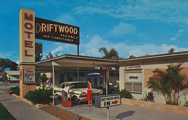 """Driftwood Motel - St. Petersburg, Florida   (from Flicker)    """"Free Continental Breakfast""""1600 34th Street South (US 19)St. Petersburg 11, FloridaRoom T.V. - Air-conditioned, sparkling new units - Close to downtown,  Skyway Bridge, golf courses, and gulf beaches - Rest assured in new  deluxe beds - Parking at your door - Nearby restaurants and shopping  centers. AAA Approved. Phone 5-7002"""