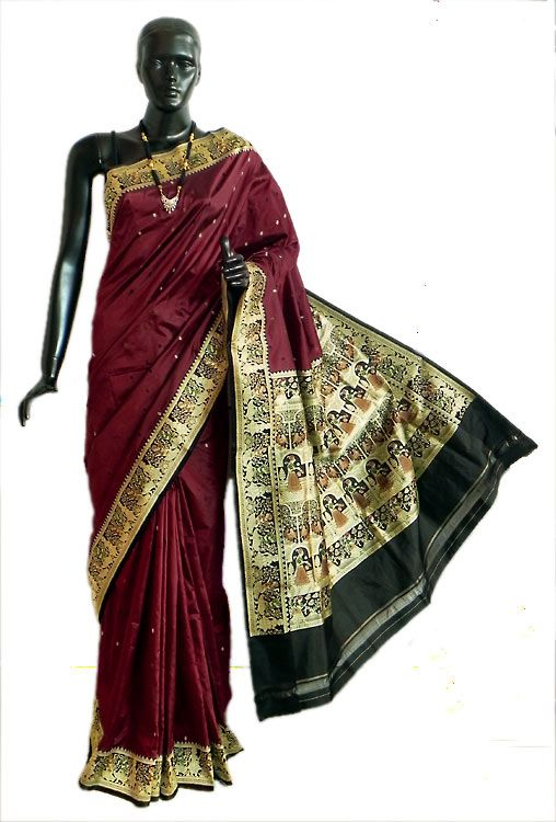 Maroon Valkalam Saree with All-Over Boota from Banaras with Dancer Motifs on Black Brocade Pallu and Border (Silk))