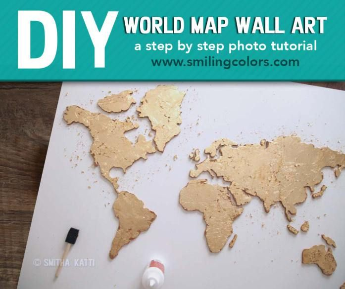 Love this canvas DIY world map with gold accents, a tutorial