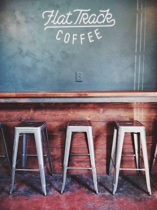 Flat Track Coffee | Austin, TX sporty script chalk chalkboard slate caps