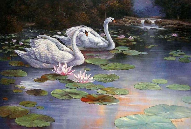 Lake Oil Paintings Family   Swan Lake