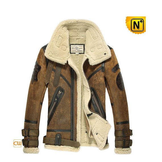 Men's Sheepskin B-3 Bomber Jacket CW877168     Warm sheepskin B-3 bomber jacket for men, cool winter sheepskin leather jacket! Best genuine sheepskin leather with lamb fur lining B-3 bomber jacket, vintage elements and dimensional badge well show men's culture taste.