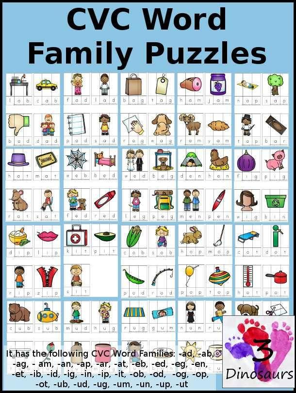 Free Printable Phonics Worksheets Cvc Word Families Word Families Cvc Words