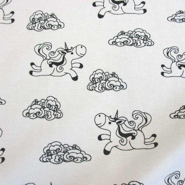 Kinderstoffe - Stoff Jersey Baumwolle weiß schwarz Einhorn Trend - ein Designerstück von werthers-stoffe bei DaWanda