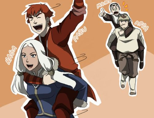 Momo, Appa, Naga and Pabu in human form - this is actually legitimately epic